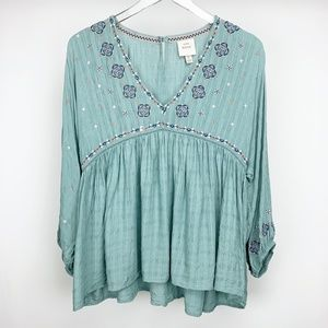 KNOX ROSE Embroidered Peasant Blouse Size Large